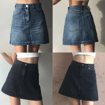 skirt Summer of 2018 XS,S,M,L Old blue, old grey black
