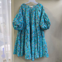 Dress Summer 2020 Blue, red, yellow S,M,L,XL Mid length dress singleton  three quarter sleeve commute Crew neck High waist Broken flowers Socket A-line skirt puff sleeve 18-24 years old Type A Korean version 51% (inclusive) - 70% (inclusive) other other