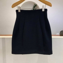 skirt Spring 2021 S,M,L,XL black Short skirt commute High waist A-line skirt Solid color Type A 18-24 years old 71% (inclusive) - 80% (inclusive) other zipper Korean version