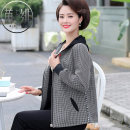 Middle aged and old women's wear Autumn of 2019 Grey red fashion Jacket / jacket easy singleton  lattice 40-49 years old Cardigan moderate Hood Medium length (length 50-70cm) routine Infidelity pocket polyester Polyester 100% 96% and above Pure e-commerce (online only) zipper