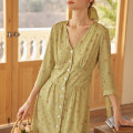 Dress Summer 2021 Green, beige XS,S,M,L Mid length dress commute Simple Retro Retro