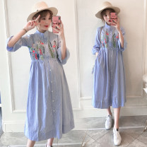 Dress other 50. XL, XXL, XXXL, XXL Korean version Short sleeve have more cash than can be accounted for summer stand collar stripe Pure cotton (95% and above)
