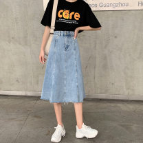 skirt Winter of 2019 S M L blue longuette commute High waist Denim skirt Solid color 18-24 years old G58CK3294 More than 95% Denim G58 other pocket Other 100% Pure e-commerce (online only)