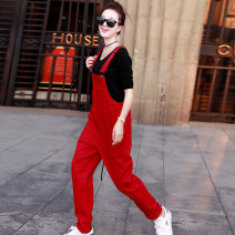 Jeans Spring 2020 Red and black M L XL trousers High waist rompers routine 25-29 years old Multi Pocket metal decoration other Dark color GDL5668 Godeline 71% (inclusive) - 80% (inclusive) Cotton 78% pet 22% Pure e-commerce (online only)