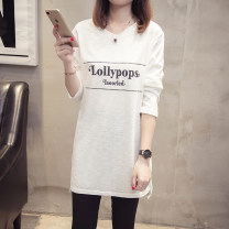 T-shirt White black XL 2XL 3XL 4XL Spring 2020 Long sleeves V-neck easy Medium length routine commute cotton 71% (inclusive) - 85% (inclusive) 18-24 years old Korean version letter Diwei D2020CT6812 Cotton 85% others 15% Pure e-commerce (online only)