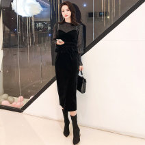 Women's large Autumn 2020 black S M L XL Two piece set commute Self cultivation Long sleeves Solid color Korean version Crew neck bishop sleeve DK9965 Tie posture 25-29 years old longuette Other 100% Pure e-commerce (online only) zipper