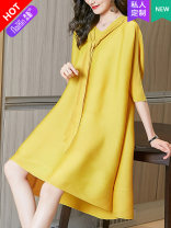Dress Spring 2021 Gray more color, please contact customer service yellow black 145/72/XXS 150/76/XS 155/80/S 160/84/M 165/88/L 170/92/XL Short skirt singleton  three quarter sleeve commute Hood Loose waist Solid color Socket Irregular skirt routine 30-34 years old Type A Naixin Simplicity other