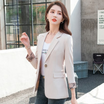 suit Winter 2021 S,M,L,XL,2XL,3XL,4XL Long sleeves routine Self cultivation tailored collar A button Versatile puff sleeve Solid color 25-29 years old 96% and above polyester fiber