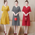Women's large Summer 2020 Red, yellow, gray L100-118 kg, xl120-133 kg, 2xl135-148 kg, 3xl150-163 kg, 4xl165-178 kg, 5xl180-200 kg Dress singleton  commute easy moderate Socket Short sleeve Solid color Korean version V-neck routine fold routine 30-34 years old pocket Medium length other