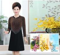 Dress Spring of 2019 XL,2XL,3XL,4XL,5XL Middle-skirt singleton  Long sleeves commute Crew neck Solid color Socket A-line skirt routine Others 40-49 years old Type H Other / other Korean version Splicing 81% (inclusive) - 90% (inclusive) brocade Cellulose acetate