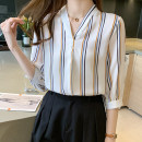 shirt Striped top S M L XL 2XL Summer 2021 other 96% and above Long sleeves commute Regular V-neck Socket routine stripe 25-29 years old Straight cylinder Yamais / yamas Korean version Button Other 100% Pure e-commerce (online only)