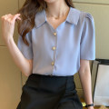 shirt White, grayish blue S M L XL Summer 2021 other 96% and above Short sleeve commute Regular Polo collar routine Solid color 25-29 years old Straight cylinder Yamais / yamas Korean version Button Other 100% Pure e-commerce (online only)
