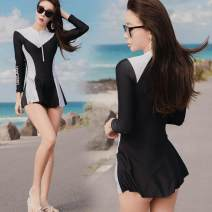 one piece  other M,L,XL black Skirt one piece With chest pad without steel support female Long sleeves Casual swimsuit