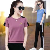 Women's large Summer 2020 Pink blue green red white yellow M L XL 2XL 3XL 4XL trousers Two piece set commute easy thin Socket Short sleeve letter Korean version Crew neck routine other Three dimensional cutting routine BLX-2028 Xiuman pocket Cotton 95.0% polyurethane elastic fiber (spandex) 5.0%