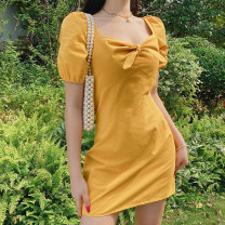 Dress Summer 2020 Yellow, blue, black, green S,M,L,XL Short skirt singleton  commute square neck High waist Solid color zipper One pace skirt puff sleeve Others 18-24 years old Type H Korean version HGD0628W0C 81% (inclusive) - 90% (inclusive) other polyester fiber