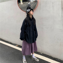 short coat Spring 2020 Average size Navy shirt, black shirt, black skirt, purple skirt Long sleeves Medium length routine singleton  easy commute routine other Solid color 18-24 years old Other / other 31% (inclusive) - 50% (inclusive)