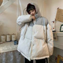 Cotton padded clothes Black with grey, apricot with grey, grey with powder M. L, XL, XXXs [pre sale] Winter 2020 Other / other routine Long sleeves thickening zipper commute Hood routine Straight cylinder Solid color Korean version pocket 18-24 years old
