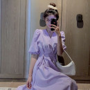 Dress Summer 2021 Purple, white, pink S,M,L,XL,2XL longuette singleton  Short sleeve commute V-neck High waist Solid color A-line skirt puff sleeve Others 18-24 years old Type A Korean version fold 51% (inclusive) - 70% (inclusive) other other