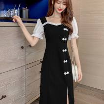Dress Summer 2021 Black, random delivery of tail goods S,M,L,XL,2XL Middle-skirt Short sleeve commute High waist 18-24 years old Korean version More than 95%