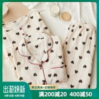 Pajamas / housewear set female Mitu M,L,XL Long sleeve suit, nightdress cotton Long sleeves Sweet Leisure home spring routine Small lapel heart-shaped trousers double-breasted youth 2 pieces rubber string More than 95% pure cotton longuette