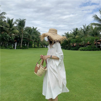 Dress Autumn of 2019 white Middle-skirt singleton  Long sleeves commute V-neck Loose waist Solid color Socket A-line skirt routine Others Type H Korean version 51% (inclusive) - 70% (inclusive) other nylon