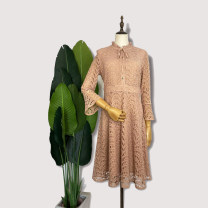 Dress Spring 2020 Camel 160/84A,165/88A,170/92A Mid length dress singleton  Nine point sleeve commute V-neck High waist Single breasted Princess Dress Lotus leaf sleeve Others 30-34 years old Type A Leina lady C9025L 91% (inclusive) - 95% (inclusive) Lace