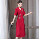 Dress Summer 2021 Red purple L XL 2XL 3XL 4XL 5XL Mid length dress singleton  Short sleeve commute V-neck middle-waisted Solid color zipper A-line skirt routine Others 40-49 years old Type A Book Butterfly ethnic style Three dimensional embroidery decoration SDE253NRJ9137 More than 95% other other