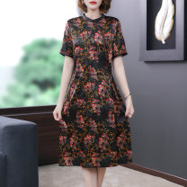 Dress Summer 2021 Picture color L XL 2XL 3XL 4XL Mid length dress singleton  Short sleeve commute Crew neck middle-waisted Broken flowers zipper A-line skirt routine Others 40-49 years old Type A Book Butterfly ethnic style printing SDA13NRJ5907 More than 95% other other Other 100%