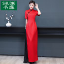 Dress Winter 2020 Red and black S M L XL 2XL 3XL 4XL 5XL Mid length dress singleton  Short sleeve commute stand collar middle-waisted Solid color zipper A-line skirt routine Others 40-49 years old Book Butterfly ethnic style More than 95% other other Other 100% Pure e-commerce (online only)