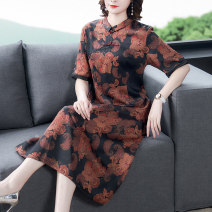 Dress Summer 2021 gules L XL 2XL 3XL 4XL Mid length dress singleton  Short sleeve commute stand collar middle-waisted Decor zipper A-line skirt routine Others 40-49 years old Type A Book Butterfly ethnic style printing SDE201NRJ2930 71% (inclusive) - 80% (inclusive) other silk Silk 80% others 20%