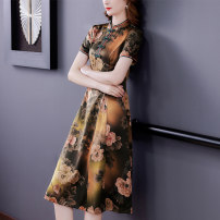 Dress Summer 2021 Picture color S M L XL 2XL 3XL Mid length dress singleton  Short sleeve commute stand collar middle-waisted Decor zipper A-line skirt routine Others 40-49 years old Type A Book Butterfly ethnic style Three dimensional decorative button printing SDA50NRJ5362 other silk
