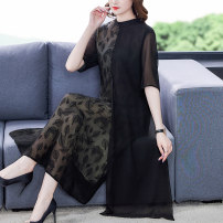 Dress Summer 2021 black L XL 2XL 3XL 4XL Mid length dress Fake two pieces Short sleeve commute stand collar middle-waisted Decor zipper A-line skirt routine Others 40-49 years old Type A Book Butterfly Korean version Multi dimensional decorative printing 71% (inclusive) - 80% (inclusive) other silk