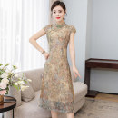 cheongsam Summer 2021 M L XL 2XL 3XL 4XL yellow Short sleeve Single cheongsam ethnic style No slits daily Oblique lapel Decor Over 35 years old Piping Book Butterfly other Other 100% Pure e-commerce (online only)