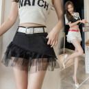 skirt Summer 2021 S M L XL White black Short skirt commute High waist Fluffy skirt Solid color Type A More than 95% Ji Yue other Korean version Other 100%