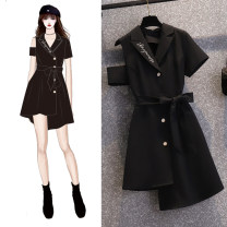 Dress Summer 2021 black S M L XL 2XL Short skirt singleton  Short sleeve commute tailored collar High waist letter Single breasted Irregular skirt routine Others 25-29 years old Type A Bo Manfang lady Asymmetric strap button More than 95% other polyester fiber Pure e-commerce (online only)