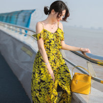 Dress Summer 2020 Picture color yz20a835 S M L XL longuette singleton  Sleeveless commute V-neck High waist Decor Socket Big swing Flying sleeve camisole 25-29 years old Type A Taro real Korean version Ruffle, fold, Auricularia auricula and dovetail printing YZ20A835 More than 95% Chiffon