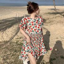 Women's large Summer 2021 Decor Large L, large XL, s, M Dress singleton  commute moderate Socket Short sleeve Korean version MM609 25-29 years old 96% and above Medium length