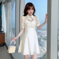 Dress Summer 2021 Apricot blue S M L XL Short skirt singleton  Short sleeve commute Polo collar High waist Solid color Socket A-line skirt puff sleeve 25-29 years old Beautiful poetry slave Korean version 04051DW8063 More than 95% polyester fiber Polyester 100% Pure e-commerce (online only)