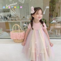 Dress Pink female Other / other 90cm,100cm,110cm,120cm,130cm,140cm Other 100% summer Korean version Short sleeve Solid color cotton A-line skirt other 2 years old, 3 years old, 4 years old, 5 years old, 6 years old, 7 years old, 8 years old