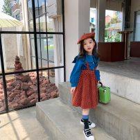 Dress Red, blue female Other / other 90cm,100cm,110cm,120cm,130cm,140cm Other 100% spring and autumn Korean version Skirt / vest Solid color cotton A-line skirt other 2 years old, 3 years old, 4 years old, 5 years old, 6 years old, 7 years old, 8 years old