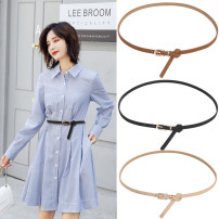 Belt / belt / chain Pu (artificial leather) Black white red pink coffee camel Khaki Navy female belt Versatile Single loop Youth Pin buckle Leather decoration Frosting 1cm alloy Heavy line decorative frosting Chunnelun NZbQYecS_ WND0u 108cm Winter 2020