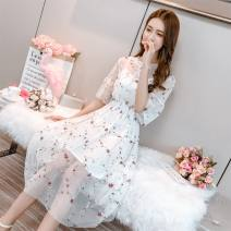 Dress Summer 2021 Black, white, apricot, pink, round neck apricot S recommendation [below 100 kg], m recommendation [below 110 kg], l recommendation [below 120 kg], XL recommendation [below 130 kg] Mid length dress Short sleeve Crew neck Socket routine Type A 30% and below Lace other