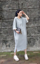Dress Summer 2020 grey S M L Mid length dress singleton  elbow sleeve commute V-neck middle-waisted Solid color Socket other routine Others 18-24 years old Type A Jiangdan Menglu Simplicity 51% (inclusive) - 70% (inclusive) knitting cotton Cotton 60% new polyester 40% Pure e-commerce (online only)