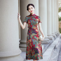 cheongsam Spring 2021 M L XL 2XL 3XL 4XL 5XL Red retro green Short sleeve long cheongsam Retro No slits daily Oblique lapel Decor Over 35 years old Piping YS-20210221013 Cryptomeria fortunei other Other 100% Pure e-commerce (online only)