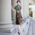 cheongsam Spring 2021 M L XL 2XL 3XL 4XL 5XL green Short sleeve long cheongsam Retro High slit daily Oblique lapel Decor Over 35 years old Piping YS-20210221018 Cryptomeria fortunei other Other 100% Pure e-commerce (online only)
