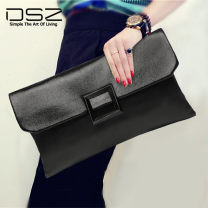 Bag clutch bag cowhide Envelope bag DSZ brand new European and American fashion large leisure time soft Cover type no Solid color Single root Yes youth Envelope shape Color contrast Handling handle polyester fiber Zipper hidden bag mobile phone bag certificate bag sandwich zipper bag Spring 2021