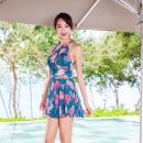 one piece  Other L,XL,XXL Skirt one piece Steel strap breast pad Nylon, spandex, polyester female Sleeveless Casual swimsuit scenery Hollowing out