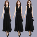 Dress Summer 2020 black S,M,L,XL,2XL,3XL longuette singleton  Short sleeve commute V-neck High waist Solid color Socket A-line skirt Bat sleeve Others Type A lady Lace, diamond, chain, zipper, resin fixation Chiffon other