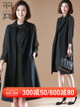Middle aged and old women's wear Autumn of 2019 Picture color XL,XXL,XXXL,XXXXL,XXXXXL fashion Dress easy Two piece set Dot 40-49 years old Cardigan moderate Polo collar Medium length routine YY19FSBM9006 pocket polyester 96% and above A button Medium length Polyester