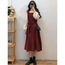 Dress Autumn 2020 Red, white vest S,M,L,XL,2XL Mid length dress singleton  Long sleeves commute square neck High waist Solid color A-line skirt bishop sleeve Others Type A Retro